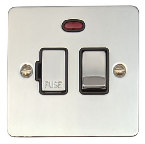 G&H FC327 Flat Plate Polished Chrome 1 Gang Fused Spur 13A Switched & Neon